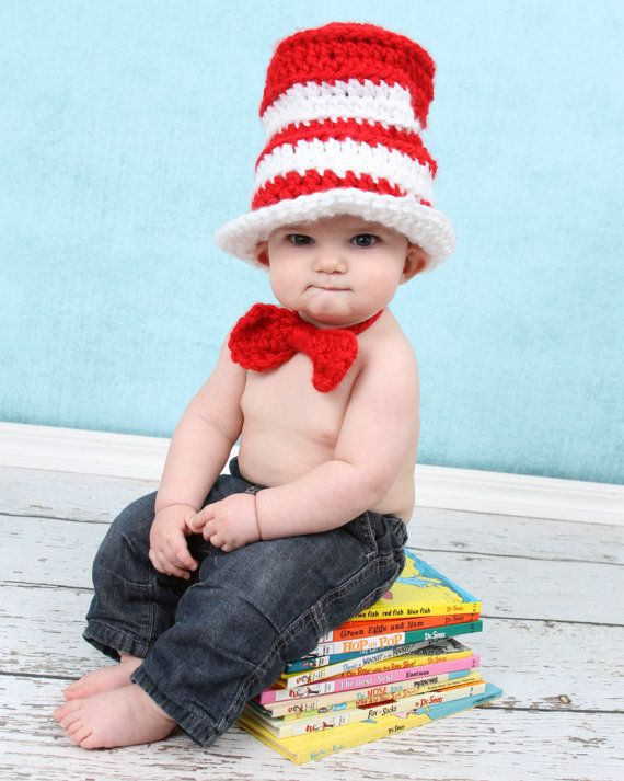 Red and White Hat Crochet Pattern, Quick, Baby Hat, Bow tie Toboggan ...