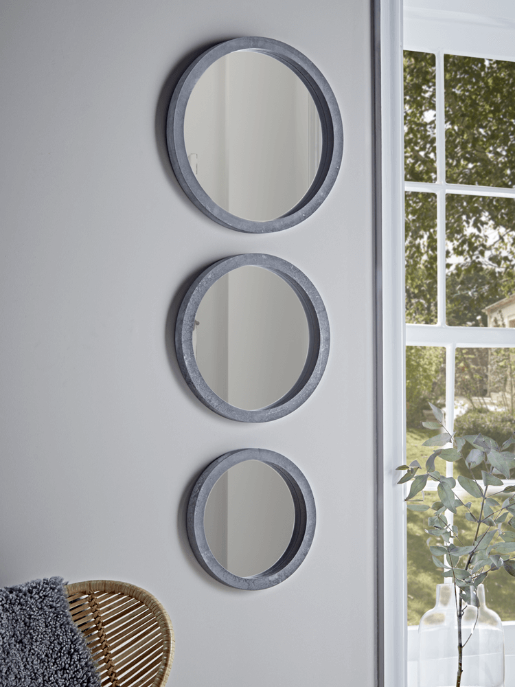 New Three Concrete Round Mirrors, How To Hang Three Circle Mirrors