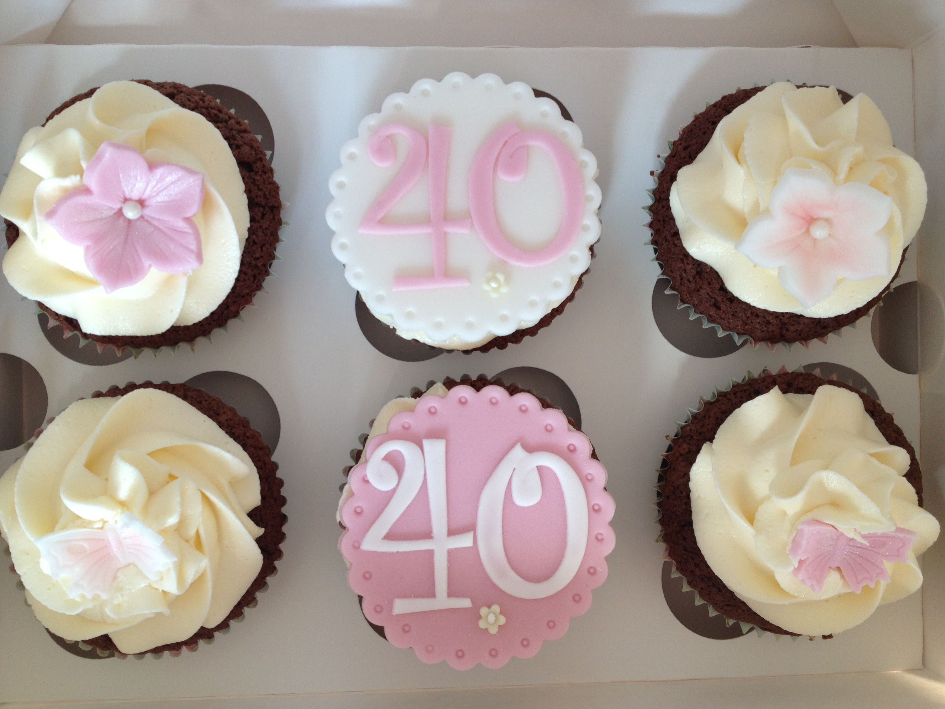 40th birthday cupcakes with personalised toppers www