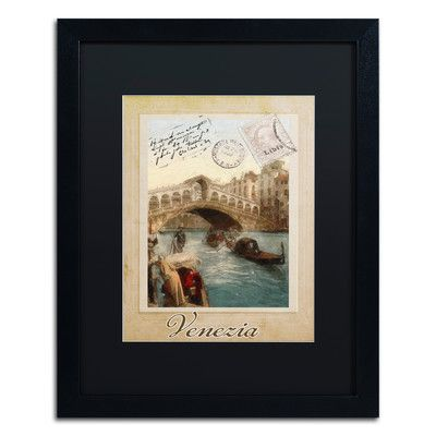 "Trademark Art 'European Vacation I' Framed Graphic Art Mat Color: Black, Size: 20"" H x 16"" W x 0.5"" D"