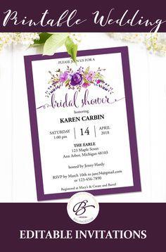 Bridal Shower Invitation Instant Download Printable Bridal Shower - Purple bridal shower invitations templates