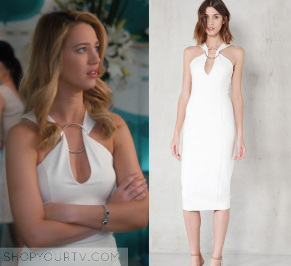 a0f7591273 Petra Solano (Yael Grobglas) wears this white sleeveless ring midi dress in  this episode of Jane the Virgin