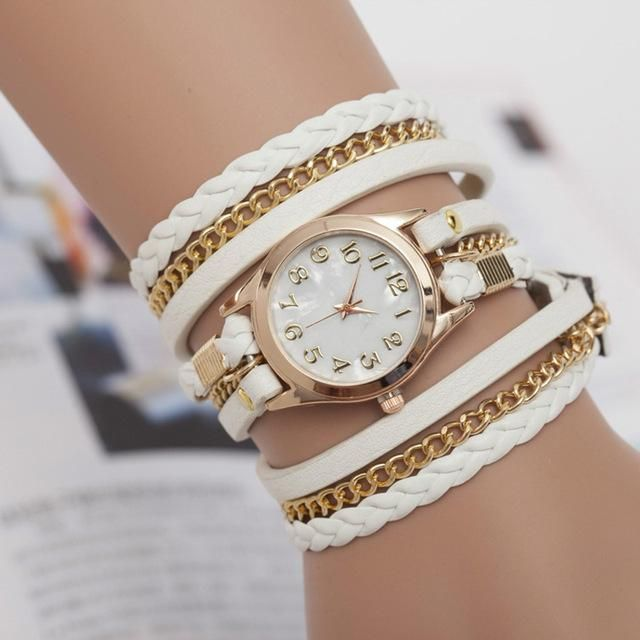 Women's Bracelet Watch hand-woven three-lap Wrist Watch Female Ladies Quartz Watch