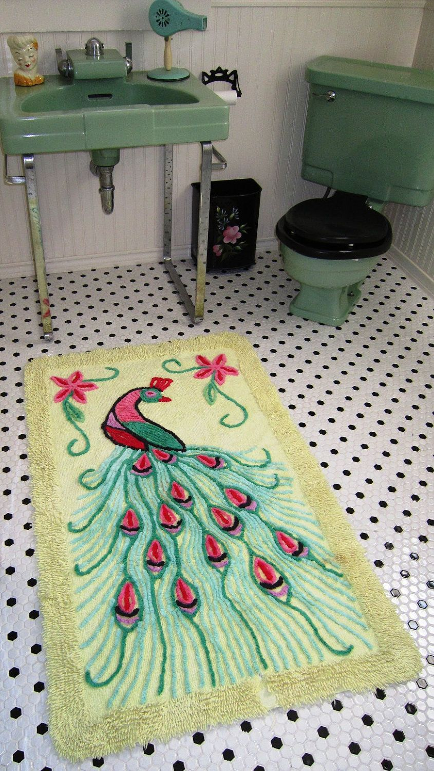 Art Deco Vintage 1940s Peacock Chenille Throw Rug Bath Mat