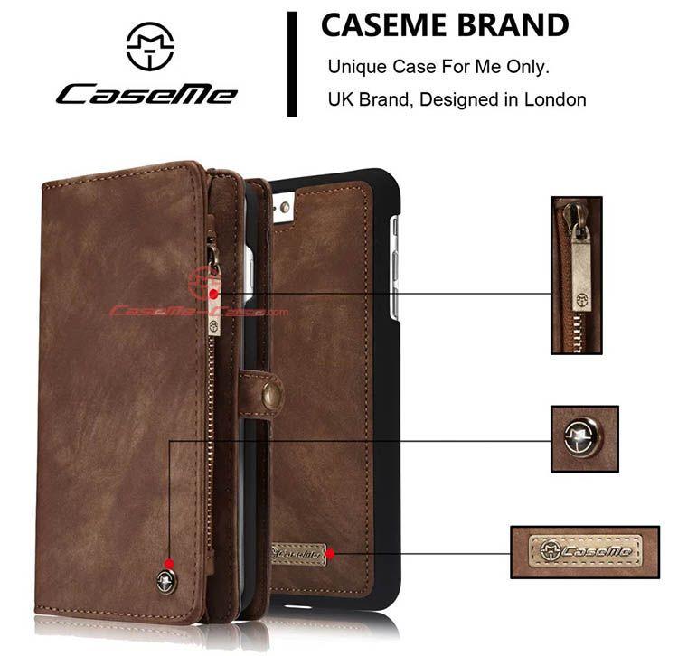 Caseme iphone 7 plus detachable 2 in 1 zipper wallet case