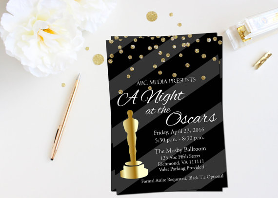 Oscar party invitation Academy awards invitation Oscar viewing