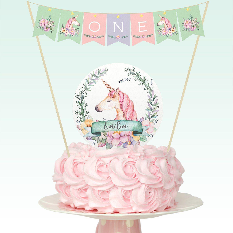 DIY baby shower unicorn favor box Floral unicorn birthday party decor Editable template UNI Unicorn popcorn box printable