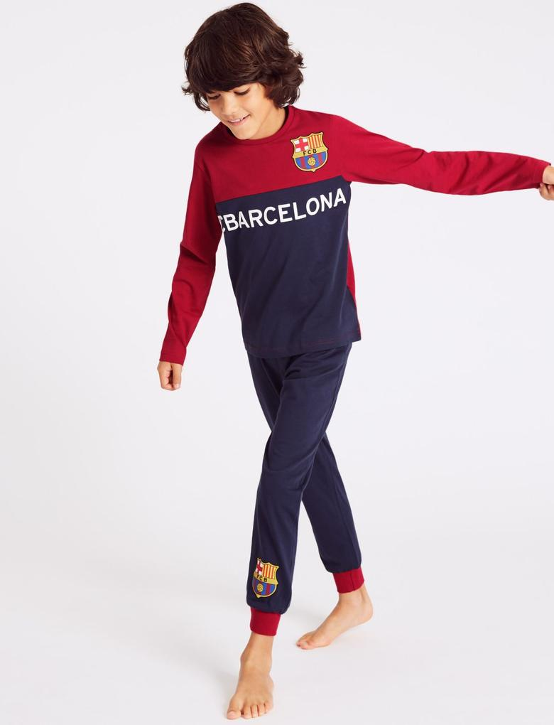 Kids Boys Official Barcelona Pyjamas PJ/'s Nightwear Pyjama Set Sleepwear