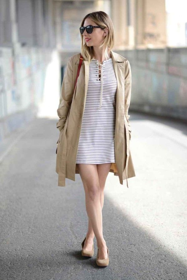 Wheretoget - White striped lace-up dress, beige trench coat, nude beige flats, black sunglasses, and red shoulder bag