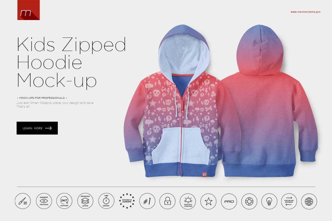 Download Kids Zipped Hoodie Mock Up Zip Hoodie Mocking Hoodies