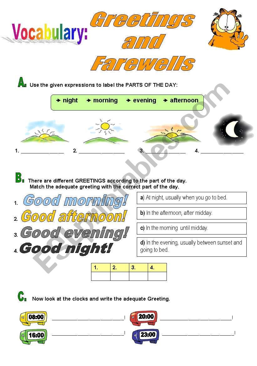 Several Exercises To Practice Ways Of Greeting And Saying Farewell Vocabulary Worksheets Greetings Vocabulary