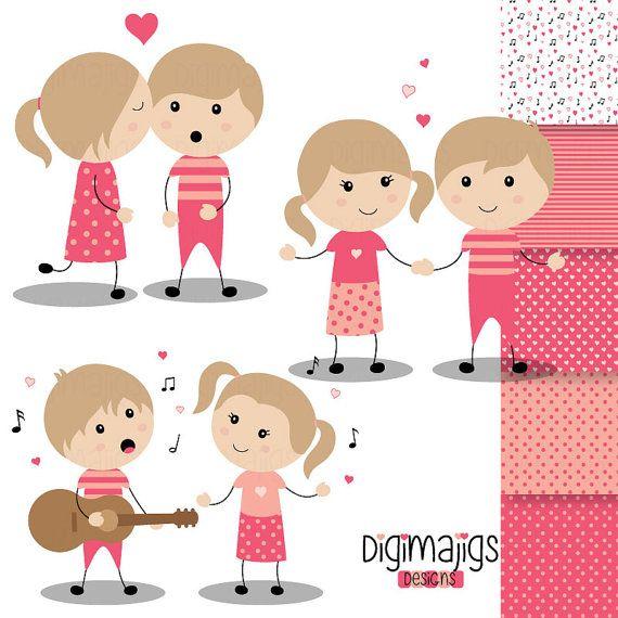 Valentine S Day Boys And Girls Serenade Clipart Kiss Etsy Clip Art Kids Invitations Heart Graphics