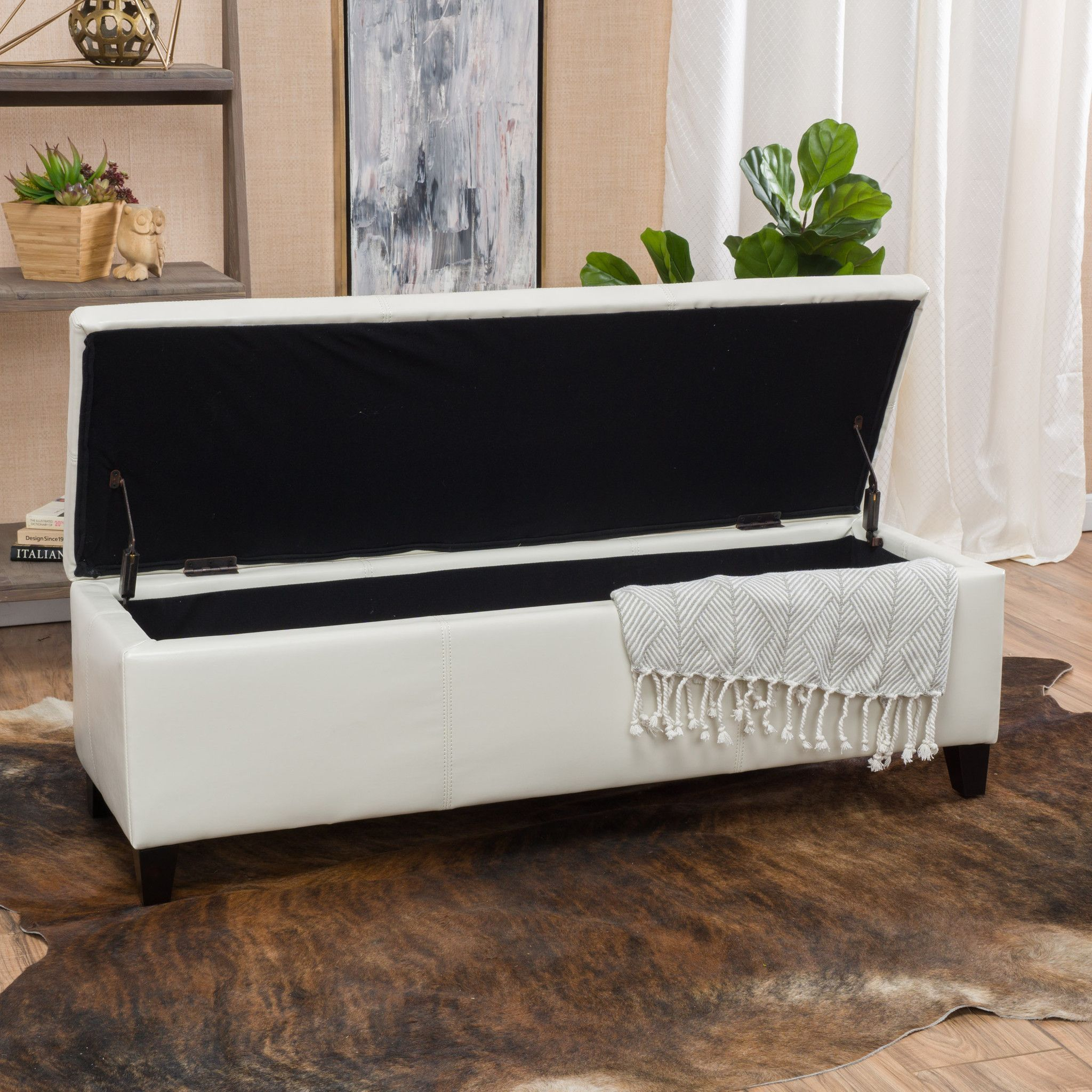 Skyler Off-White Leather Storage Ottoman Bench   Decoraciones de ...
