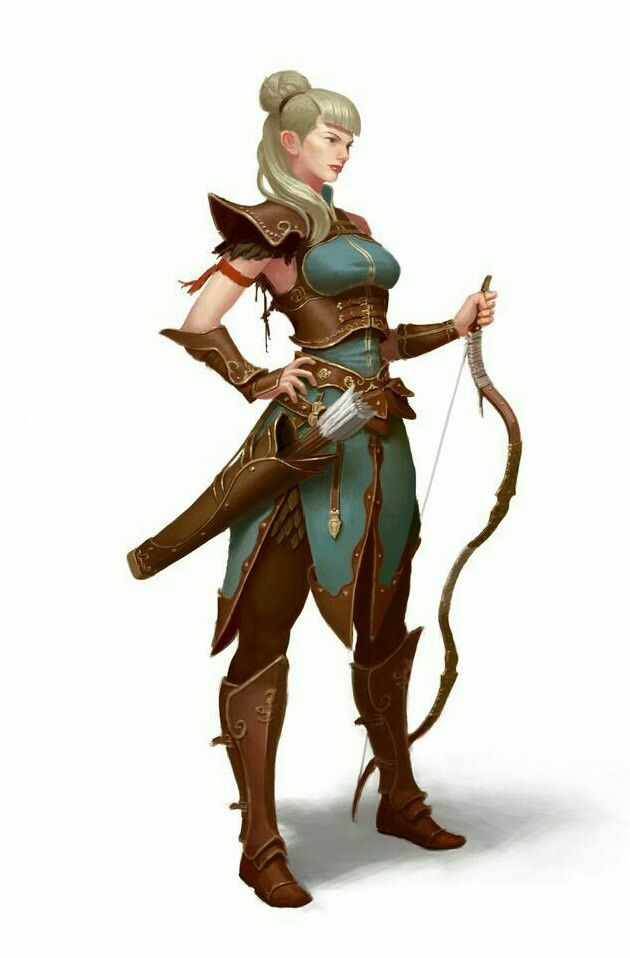 female archer pathfinder pfrpg dnd d d d20 fantasy characters in