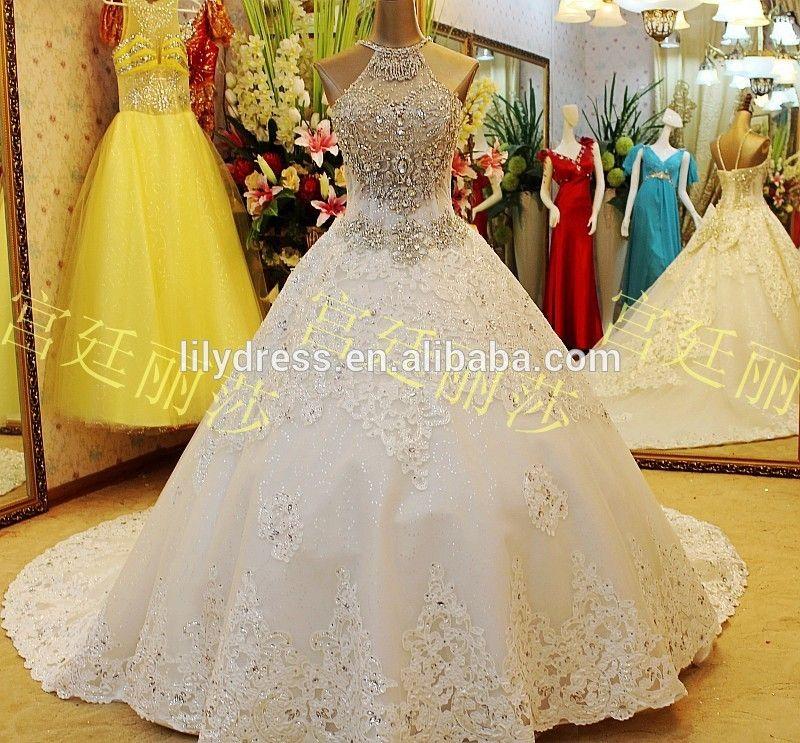 Ball Gown Long Train Crystal Beaded Puffly Floor Length Custom ...
