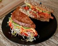 Vegetarian Sandwich: A fast, easy option is always a nice, juicy vegetable sandwich! So easy to make, kids could help you put it together. This isn't some boring veggie sandwich either, this tastes delightful! It's both healthy and satisfying, the perfect combo. Use what you have in your kitchen on any given day.