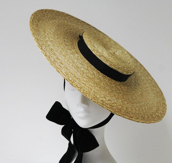 The Montpellier Vogue - Bergere Hat w  Double Sided Velvet Ribbon ... b40636ac32f