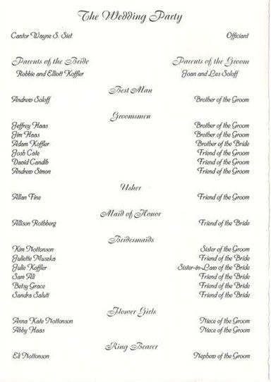 wedding party list template free bridal shower program bridal shower supplies from bridal shower