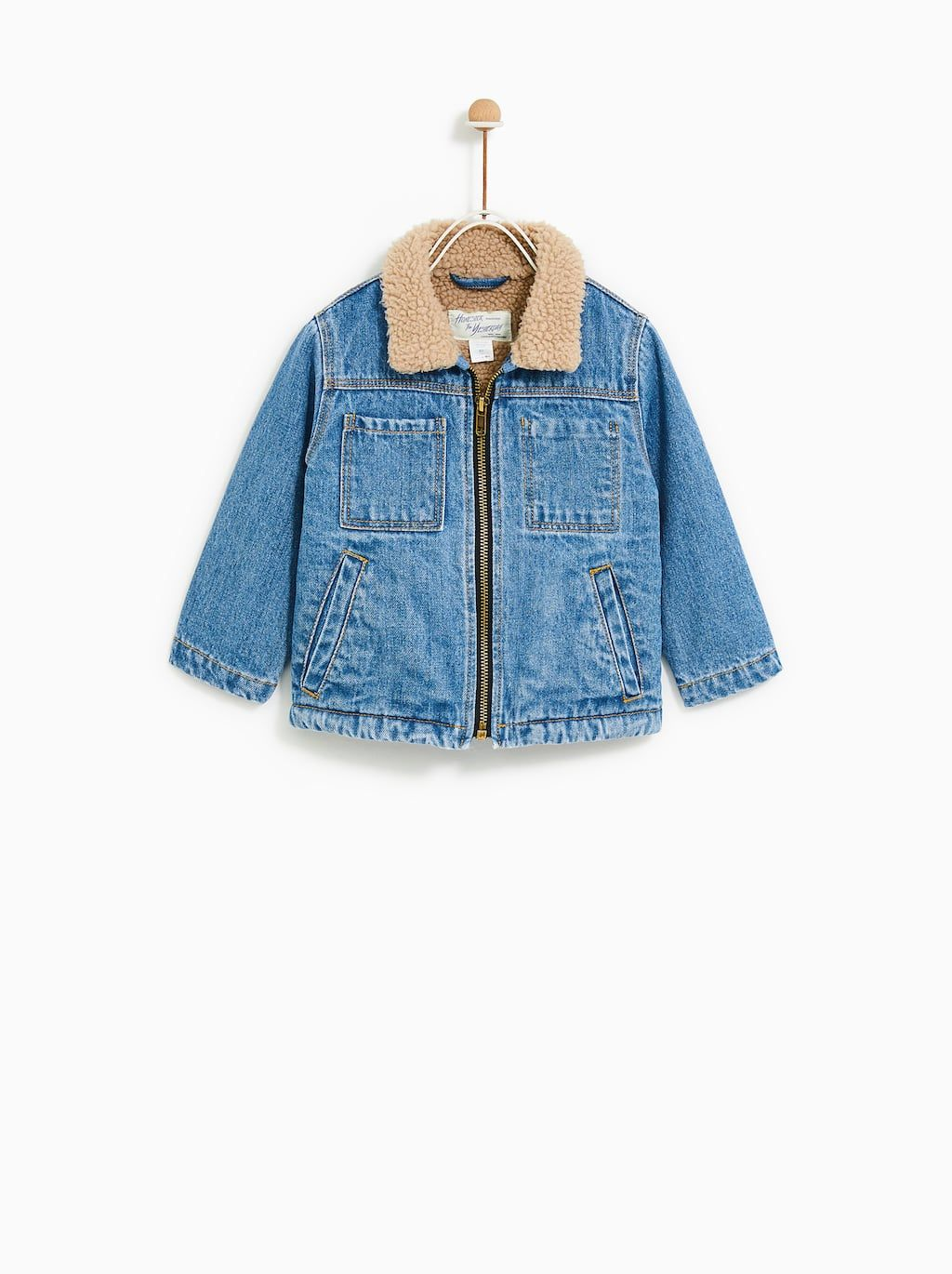 Image 1 Of Denim Faux Shearling Jacket From Zara Boys Suits Fashion Baby Denim Jacket Luxury Baby Clothes [ 1370 x 1024 Pixel ]