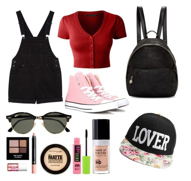 """""""In fine OVERALL"""" by rjdonut on Polyvore featuring LE3NO, Monki, Ray-Ban, Converse, STELLA McCARTNEY, MAKE UP FOR EVER, Maybelline, H&M, Revlon and Benefit"""