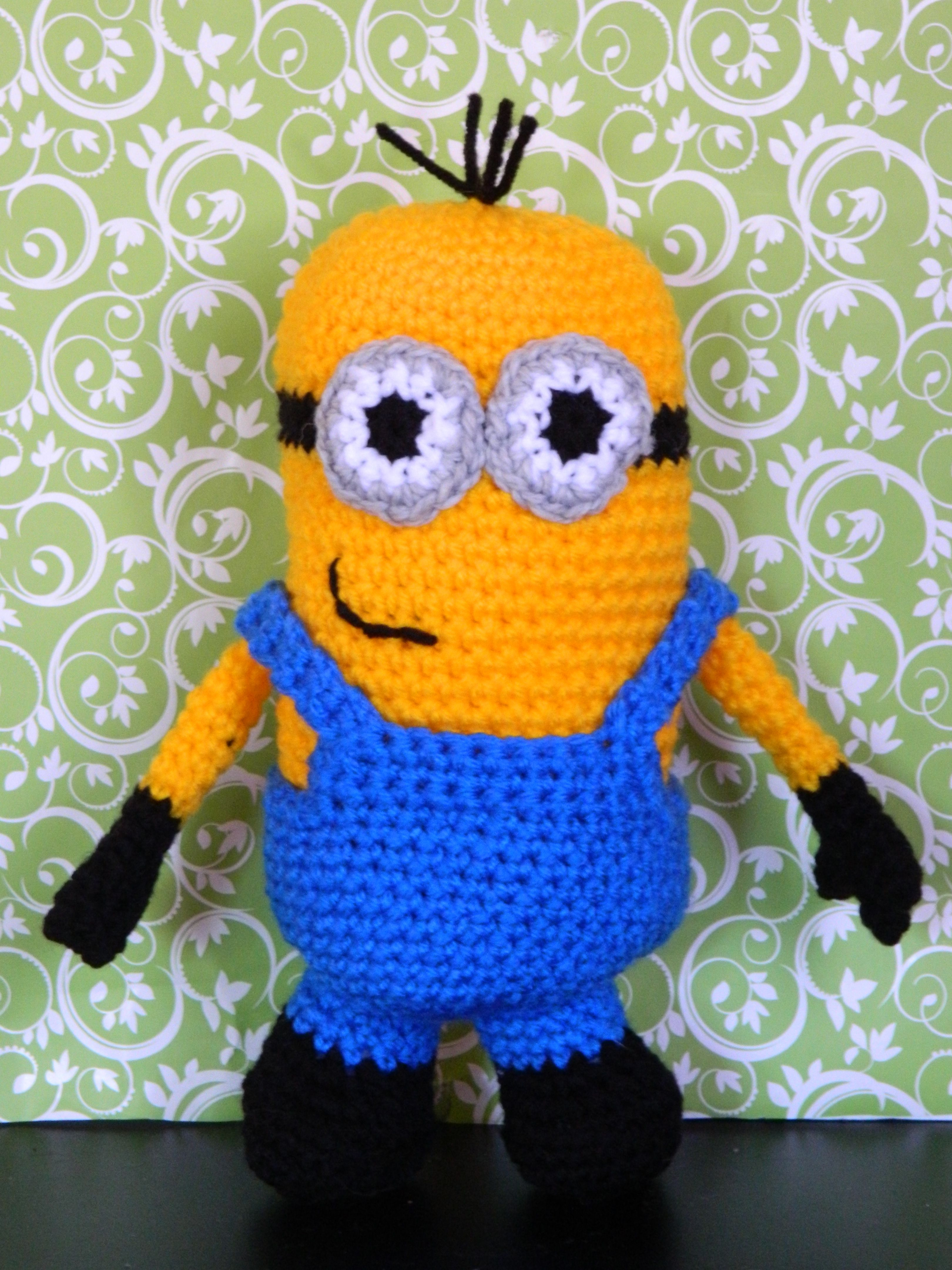 Cute crocheted Minion - www.facebook.com/LittleKrittersKnitsandKnots ...