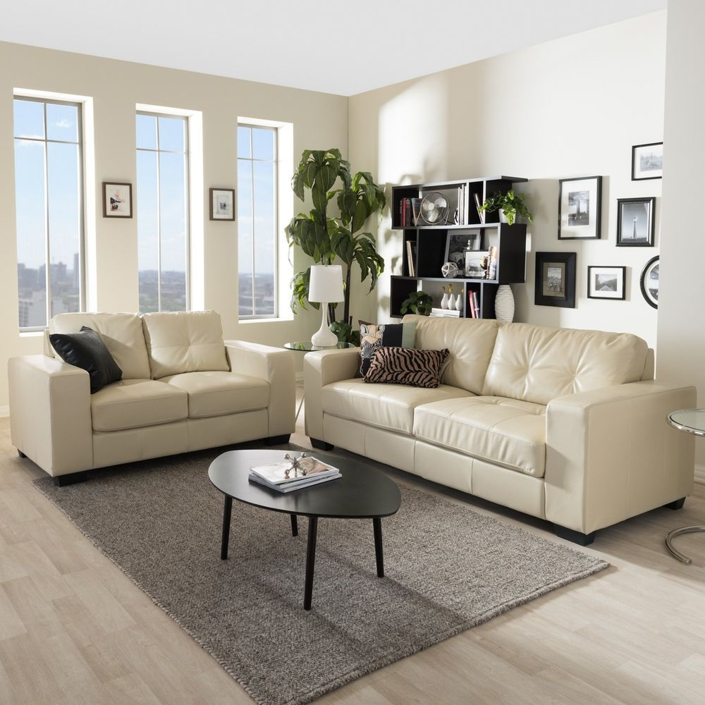 Modern Ivory Living Room Set Faux Leather 4 Seater Sofa Loveseat