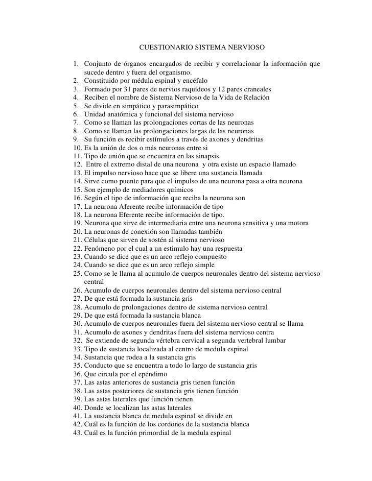 CUESTIONARIO SISTEMA NERVIOSO1. Conjunto de órganos encargados de ...