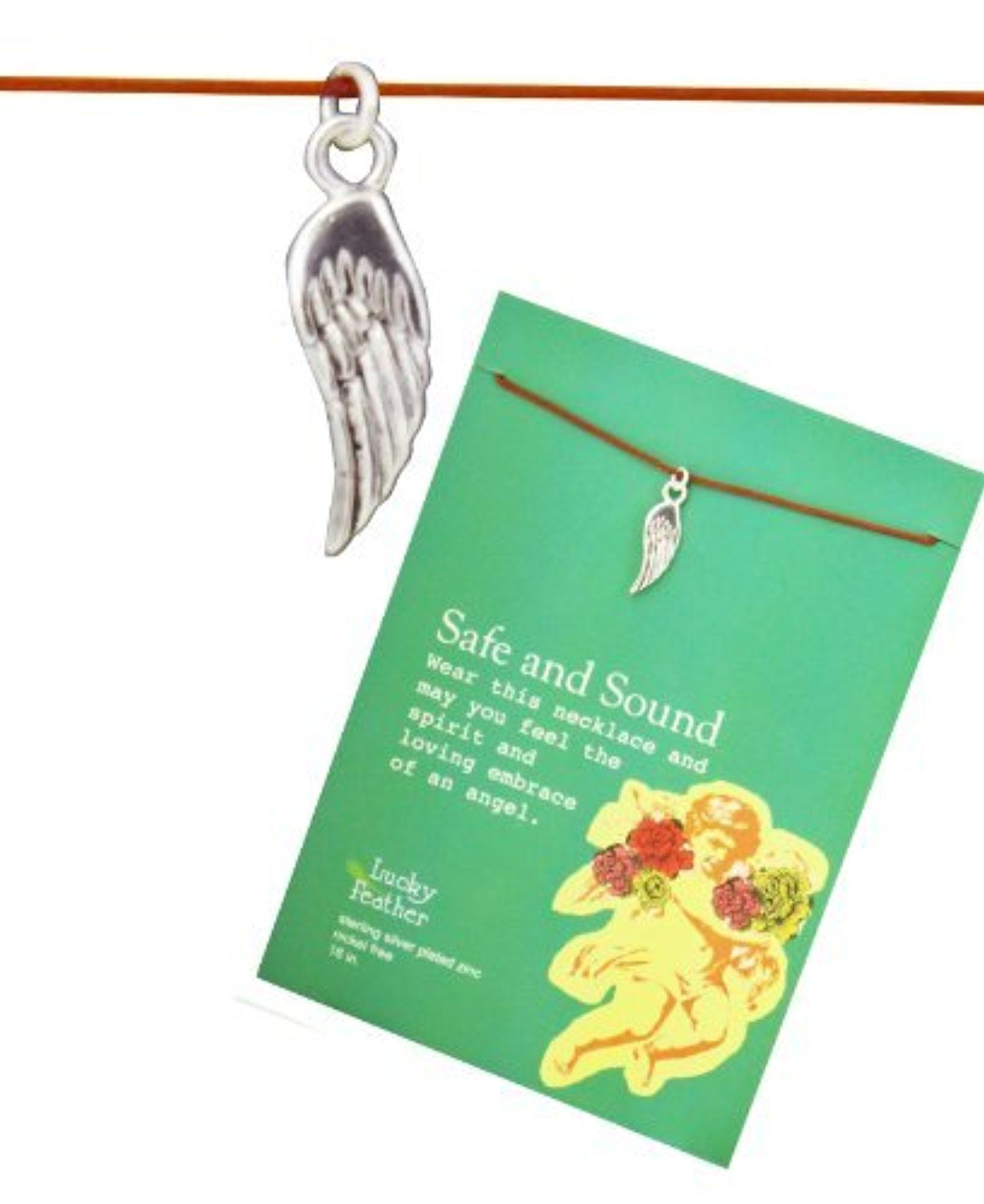 Lucky Feather Safe and Sound Angel Wing Message Necklace on Inspirational Card by Lucky Feather Jewelry by Stylephyle -- Awesome products selected by Anna Churchill