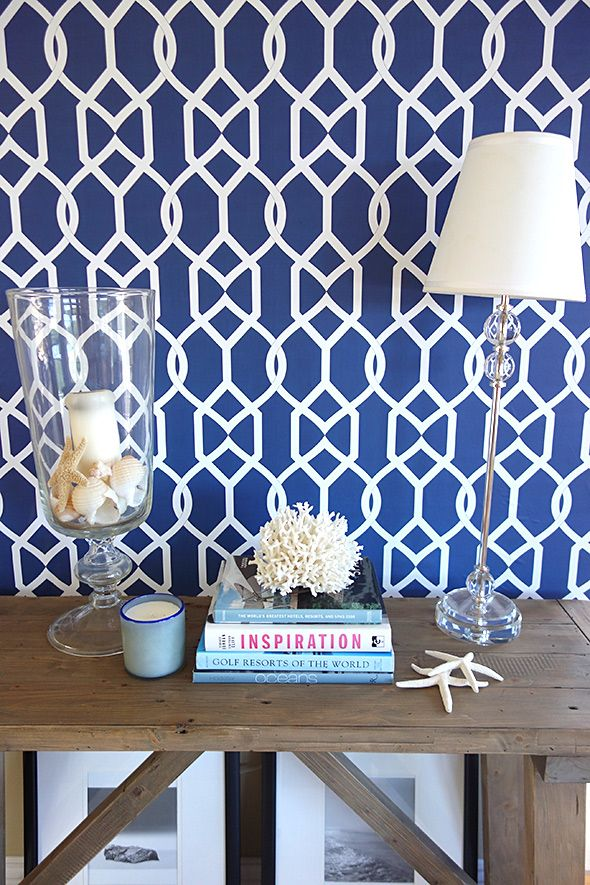 Libby Langdon Wallcoverings This Is My Groovy Gate Pattern In Navy I Love The Scroll Look Classic Style With A Modern Twist