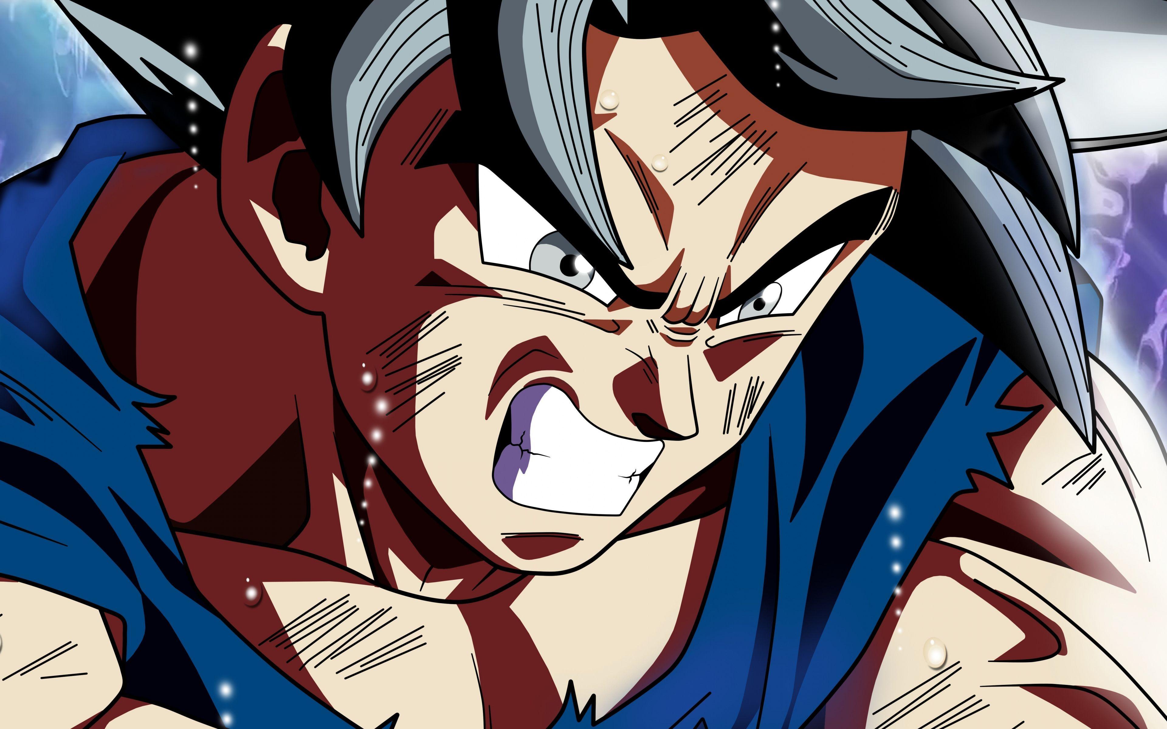 Downaload Goku, Dragon Ball Super, Angry Face, Anime, 5k