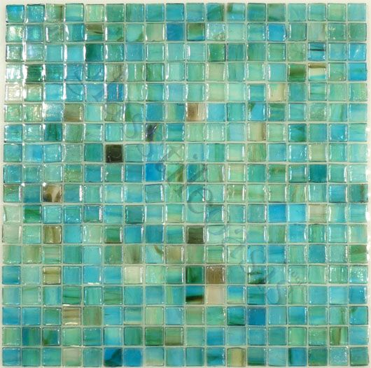 "Botanical Glass  5/8"" x 5/8"", 5/8"" x 5/8"", Green, Glossy & Iridescent, Green, Glass Tiles"