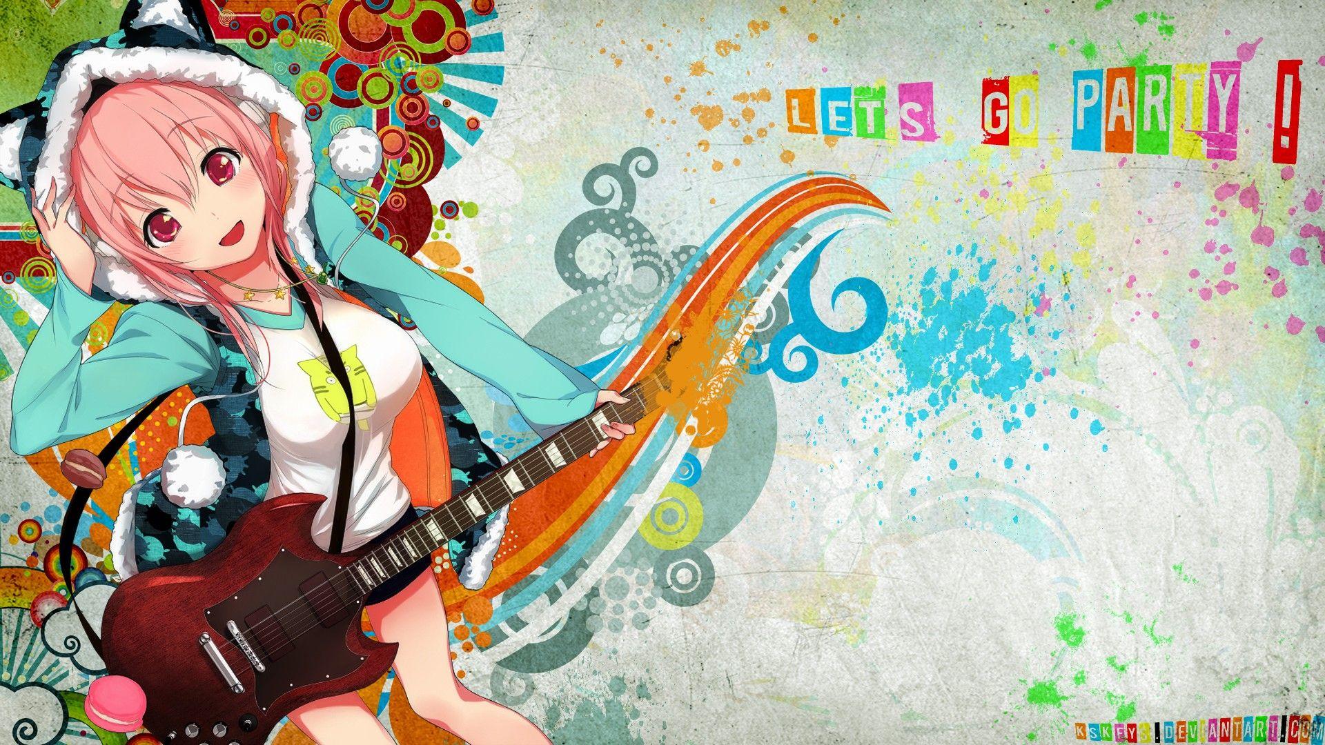 Anime Girl with Headphones Hoodie Cool 19754wall.jpg