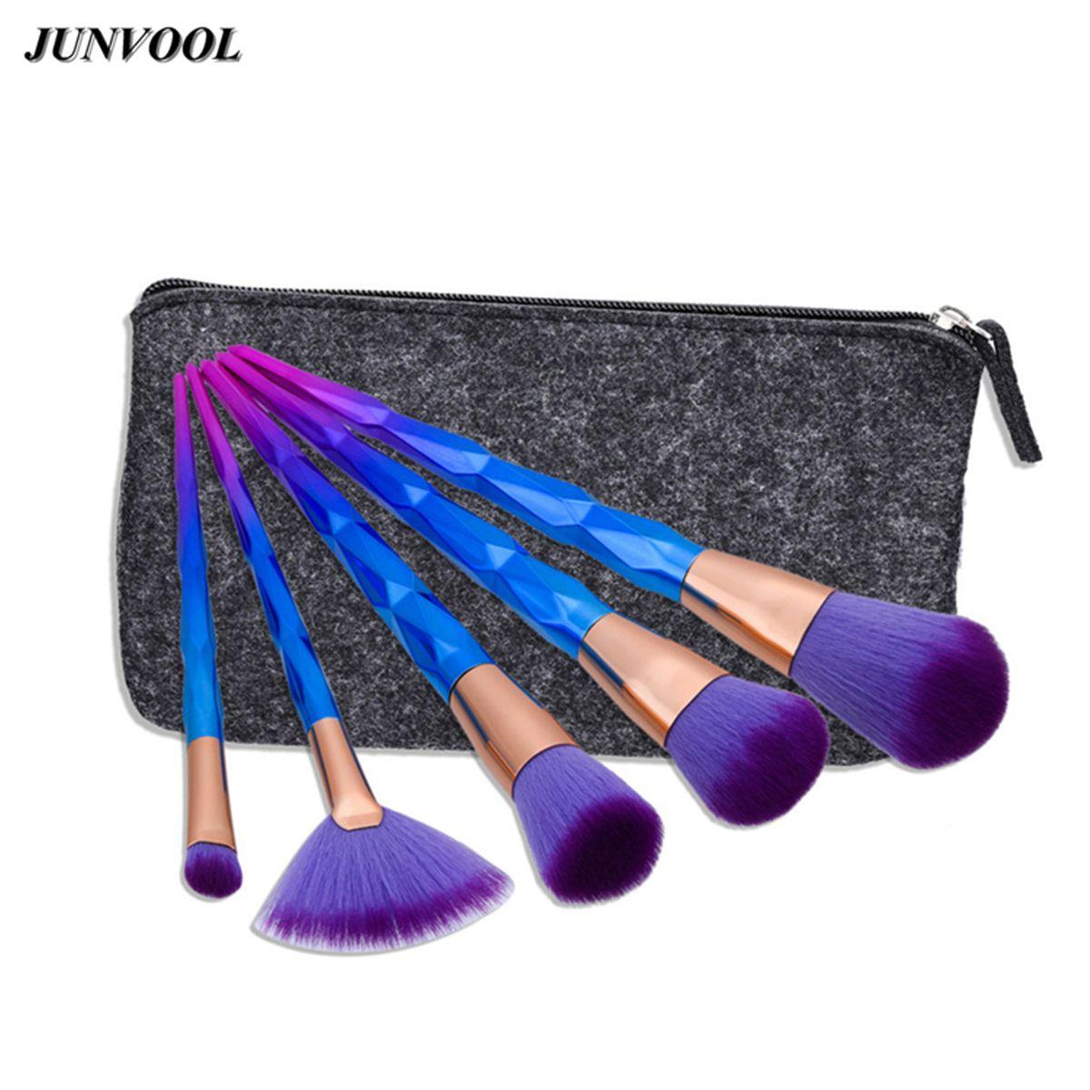 woman fashion 5pcs Multipurpose Makeup Brushes Set Purple
