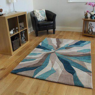Teal Beige Wave Design High End Quality Modern Living Area Rug 4