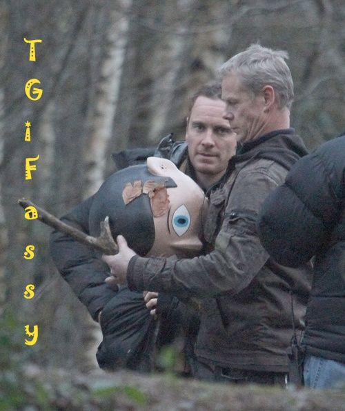 New movie Frank starring Michael Fassbender. The head he's holding is what Fassbender wears for the entire film. That's hysterical.
