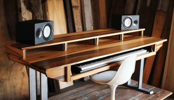 Diy Studio Desk Plans Custom Fit For Your Needs Ledgernote Home Studio Desk Studio Desk Studio Desk Music