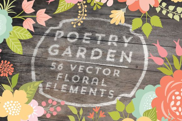 Check out Poetry Garden Vector Floral Elements by Cocoa Mint on Creative Market