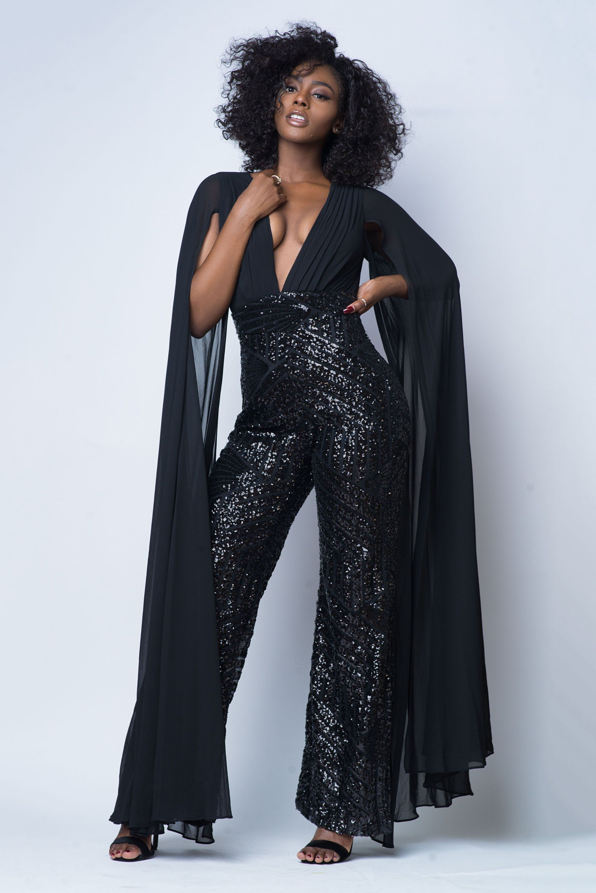 5caf98be1874 Super Woman Caped Black Sequin Jumpsuit in 2019