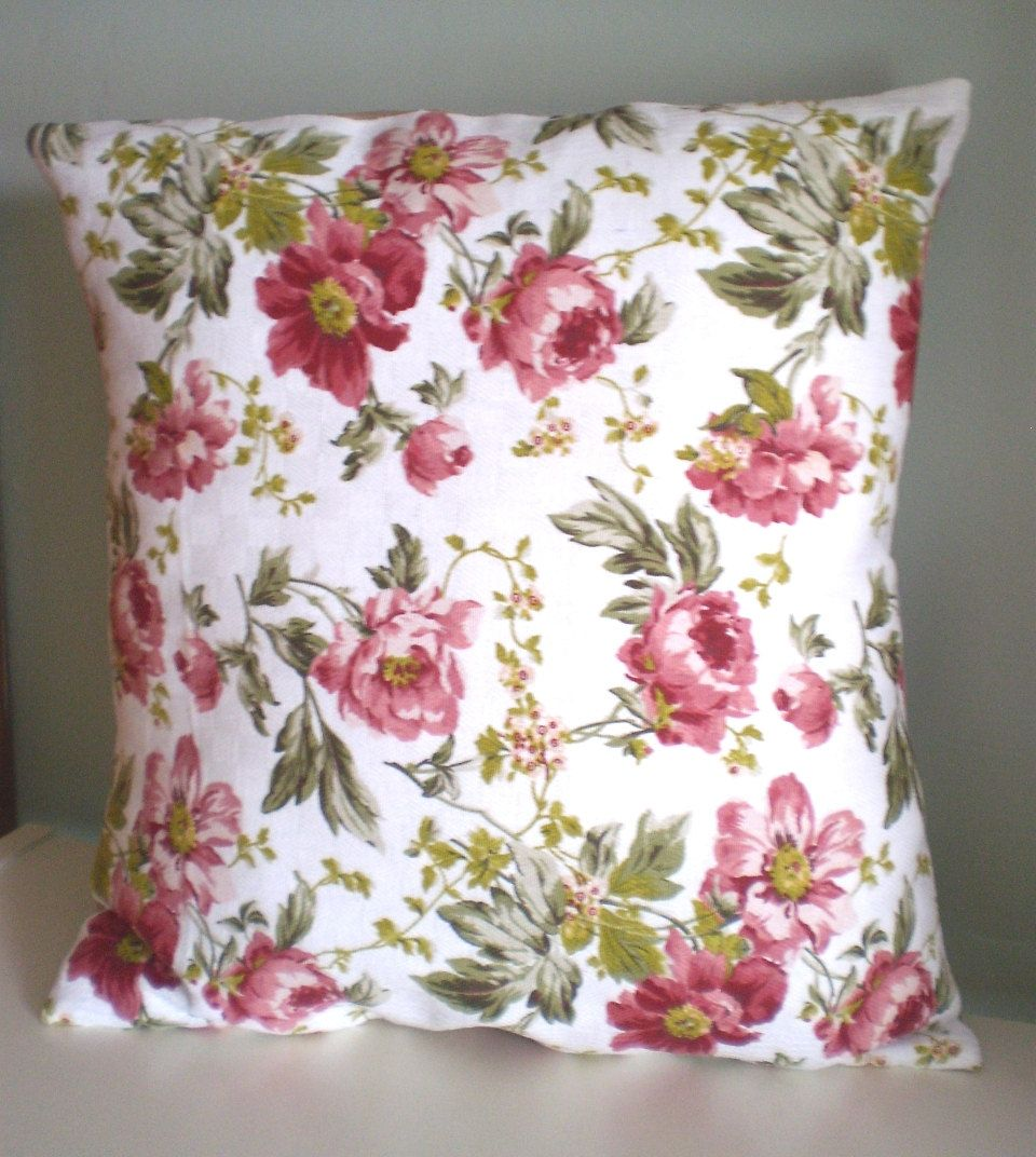 Ooak vintage style cushion pillow cover upcycled teatowel