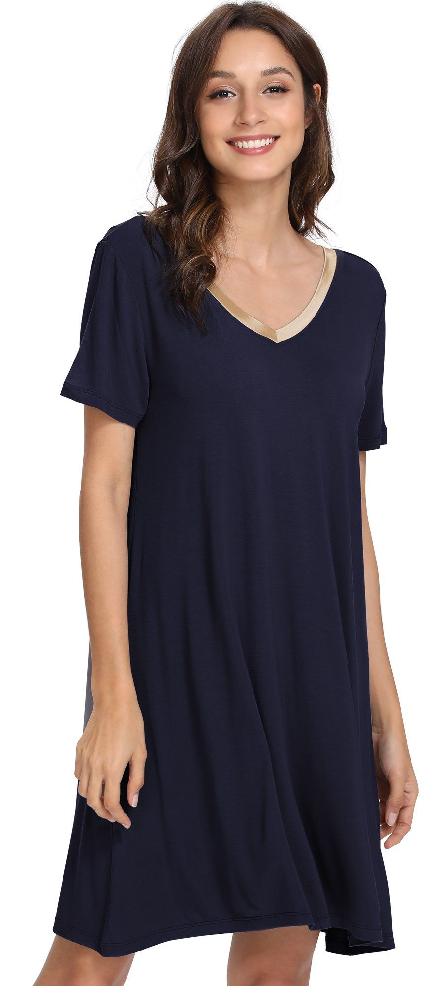 GYS Womens Short Sleeve Nightshirt V Neck Bamboo Nightgown XX Large Navy  Blue     Find out more about the great product at the image link. 408aedc6b