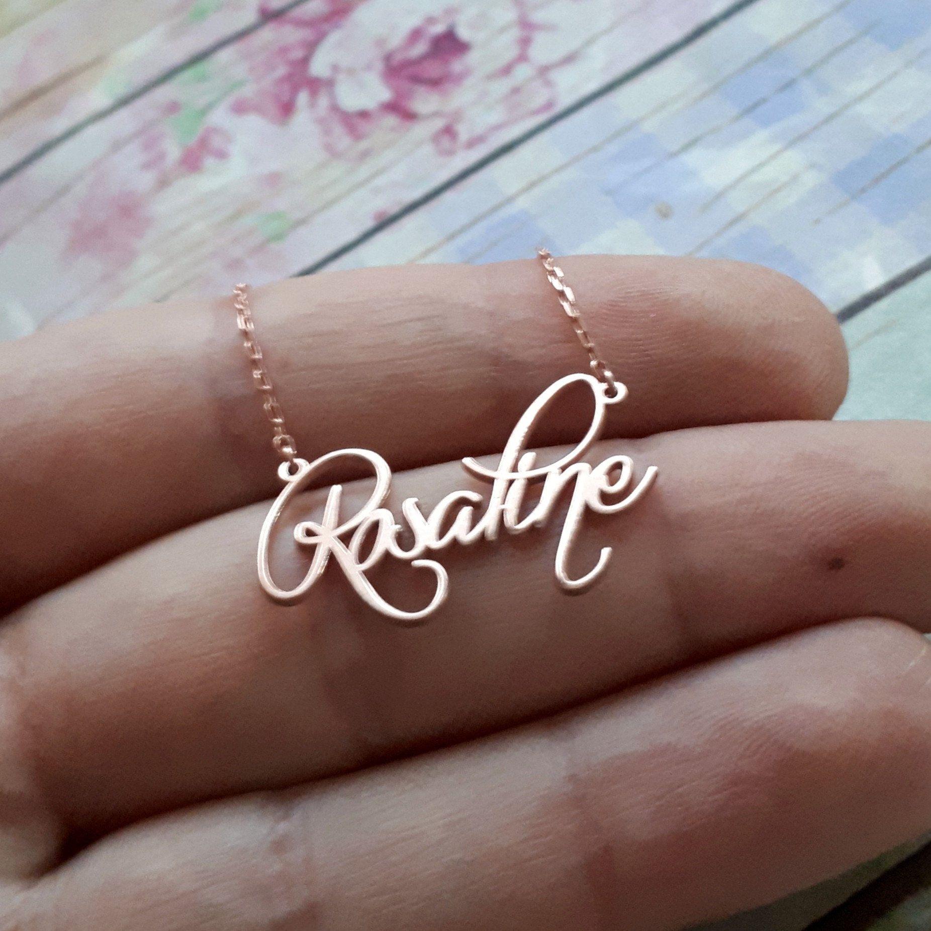 14k Solid Gold Name Necklace Rose Gold Name Necklace Gold Personalized Necklace Custo Gold Name Necklace Sterling Necklaces Personalized Gold Necklace