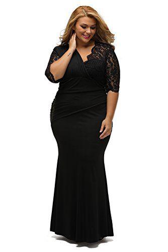 7229a0963bd Lalagen Womens Plus Size Lace Half Sleeve Long Wedding Evening Maxi Dress  Black 0X -- Visit the image link more details. (Note Amazon affiliate link)