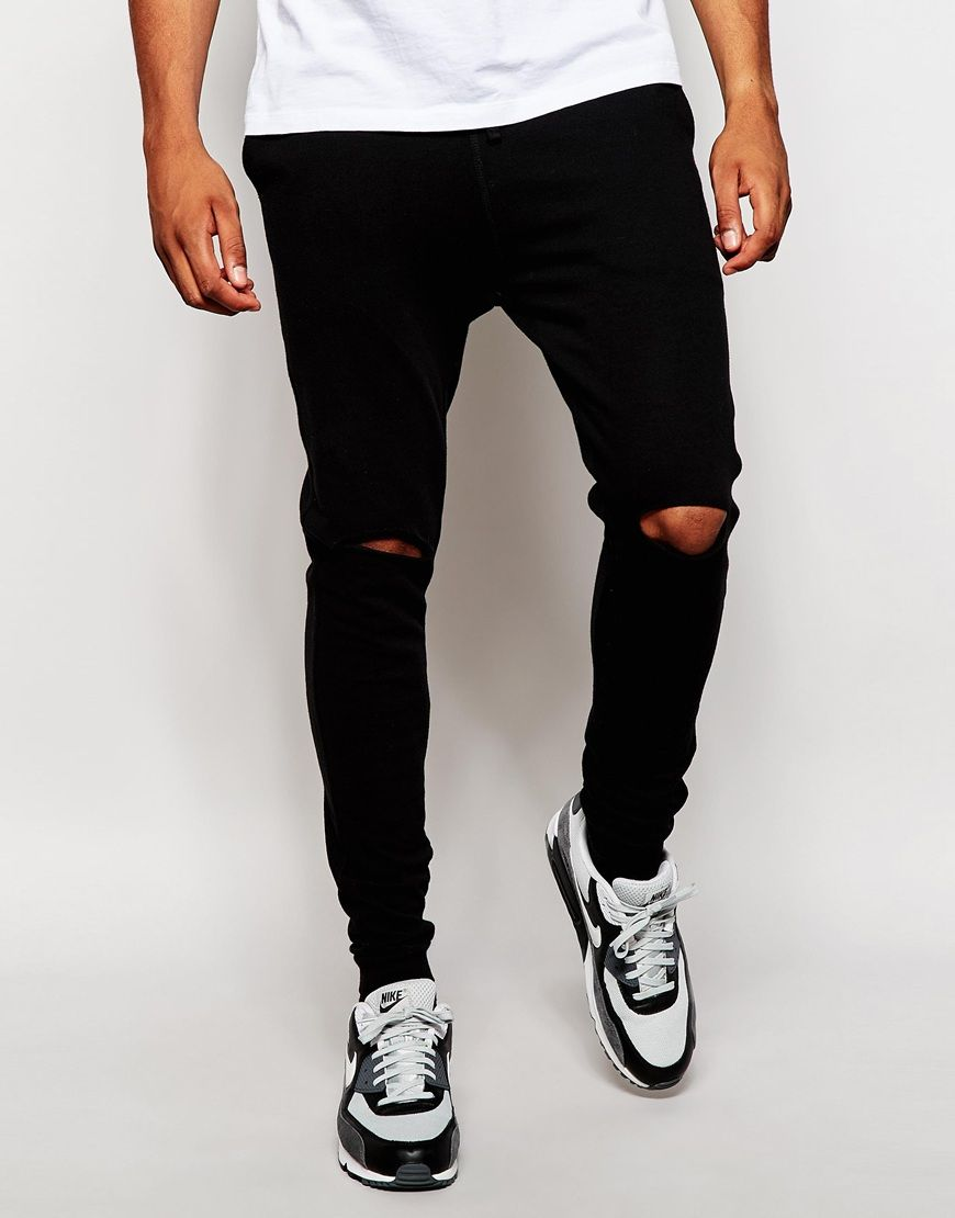 We all know that ripped jeans are super comfy as the rips in the knees give you extra room to move those legs around! But take a look at these joggers with rips in the knees! Joggers and rips?! Possibly the best combination ever!