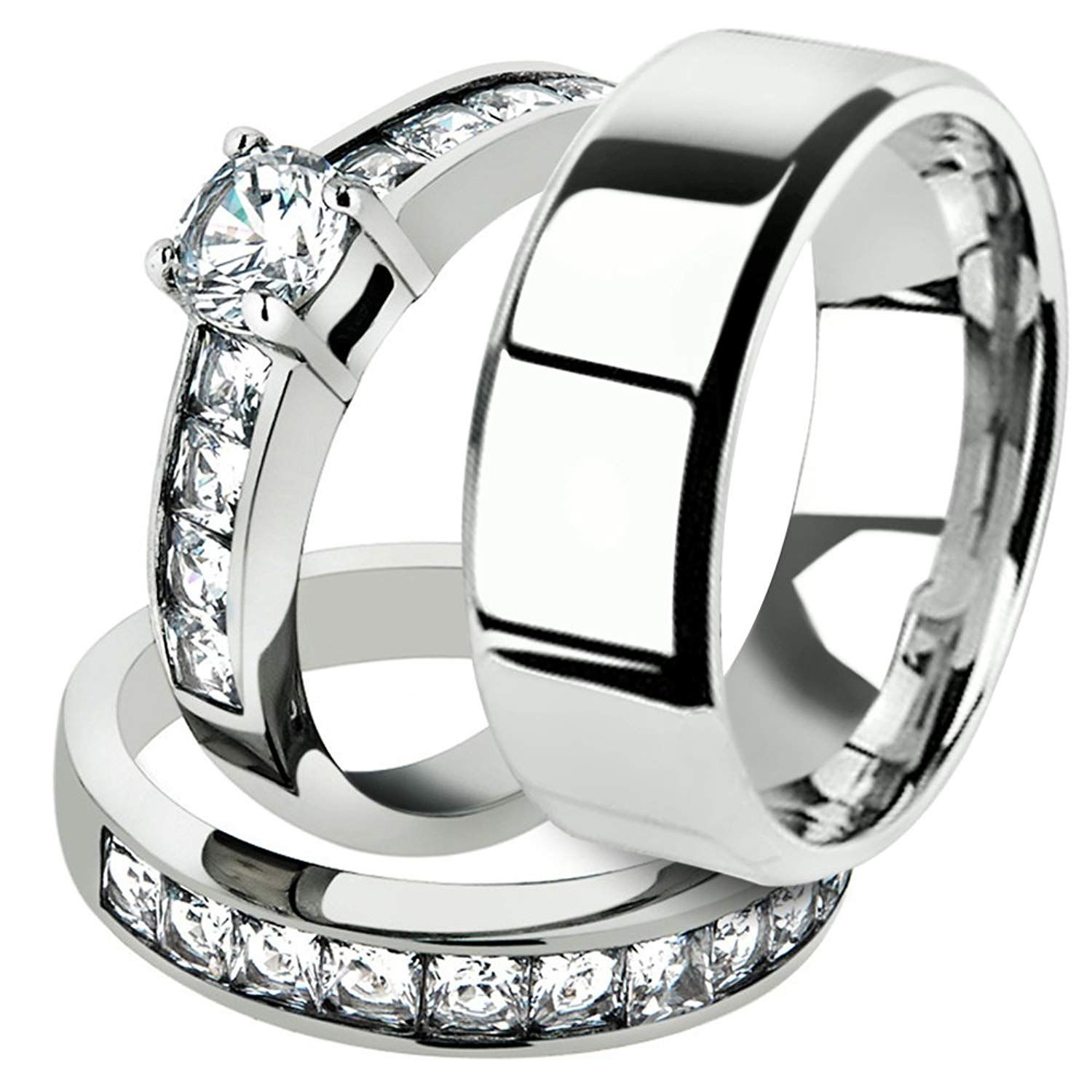His and Her 3pc Stainless Steel 3.25 Ct Cz Bridal Ring Set