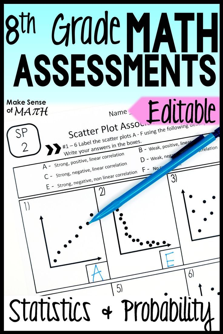 Statistics Assessments 8th Grade Math Common Core EDITABLE ...