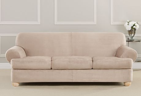 Ultimate Heavyweight Stretch Suede Four Piece Sofa Slipcover Home