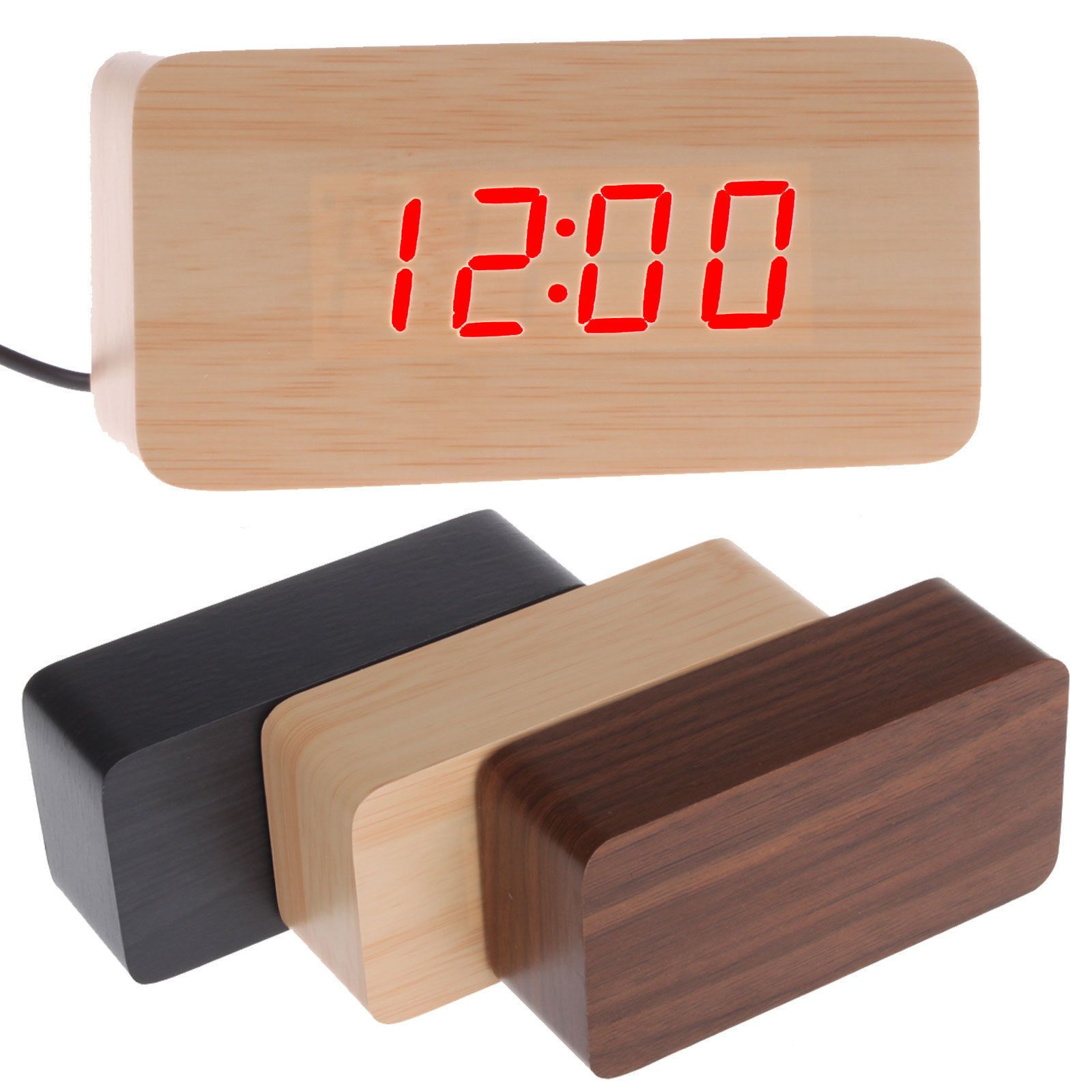 Alarm Clocks And Clock Radios 79643 Modern Wooden Wood Usb Aaa Digital Led Alarm Clock Calendar Thermometer Buy It Now Led Alarm Clock Wood Usb Alarm Clock