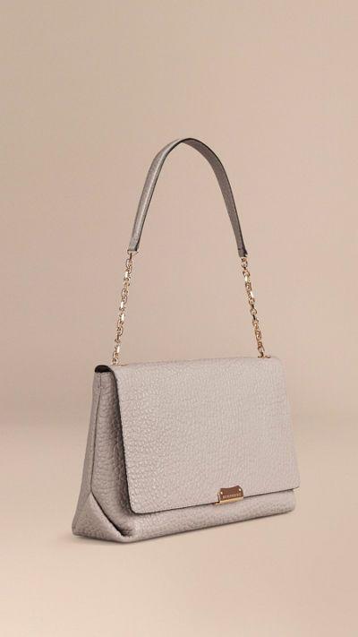 Pale grey Large Signature Grain Leather Shoulder Bag 1 24555d772b633