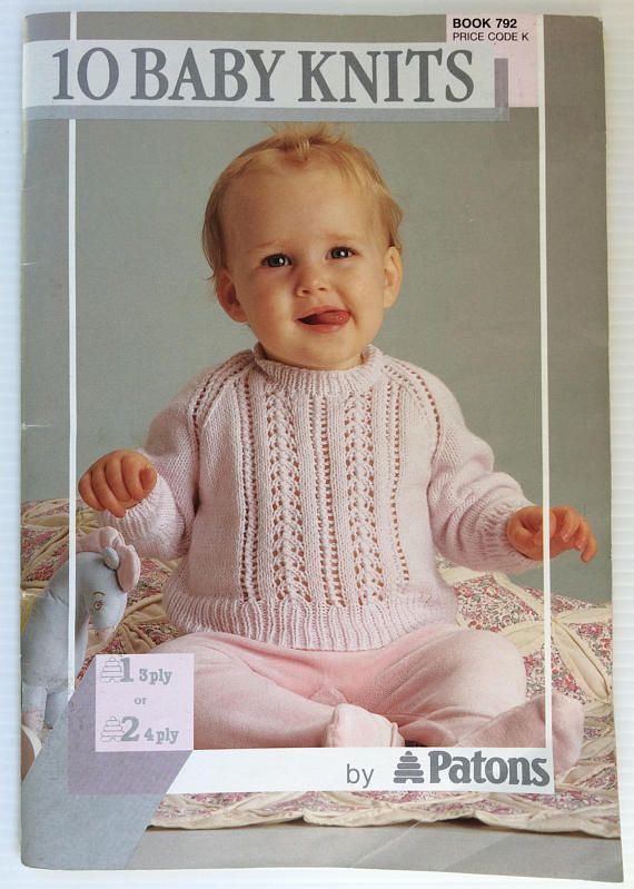 This is a 55 page Patons knitting pattern book of 10 baby knits in 3 ...