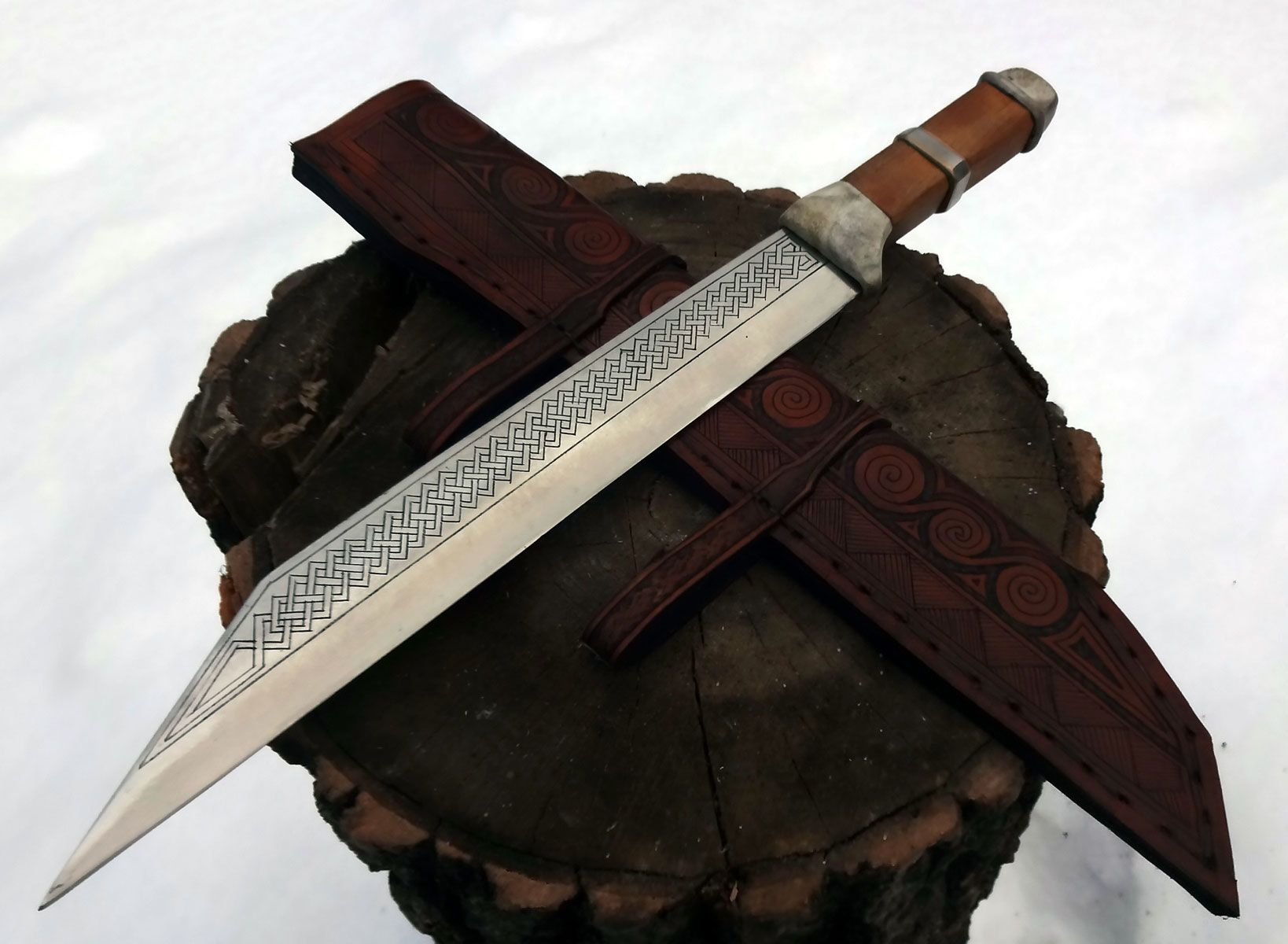 Anglo Saxon Style Broken Back Seax Hand Forged From 1080 The Handle Is Made From Oak With Antler Guard Knives And Swords Anglo Saxon Runes Hand Forged Knife